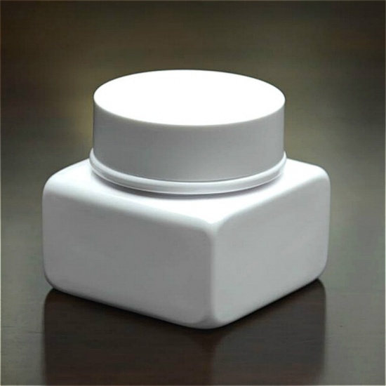 80ml wide mouth square shaped white PET facial mask bottles